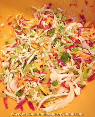 Cabbage, Carrot, and Celery Slaw for Buffalo Turkey Tacos