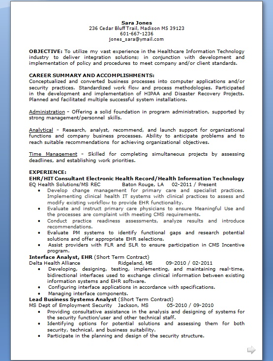 lead business systems analyst sample resume format in word