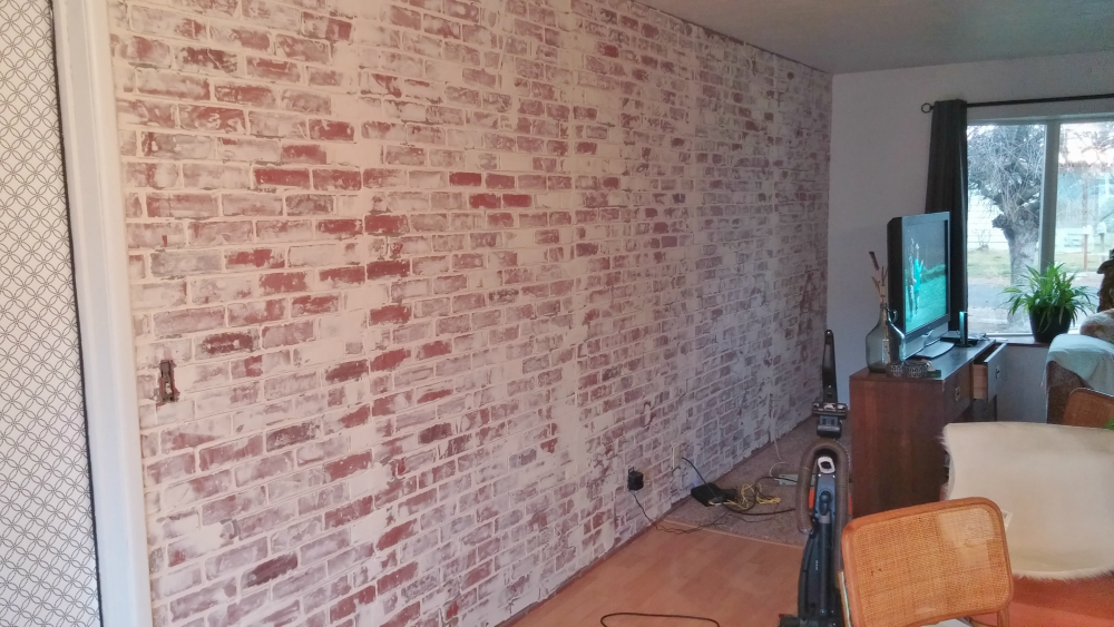 Living room wall after German schmear