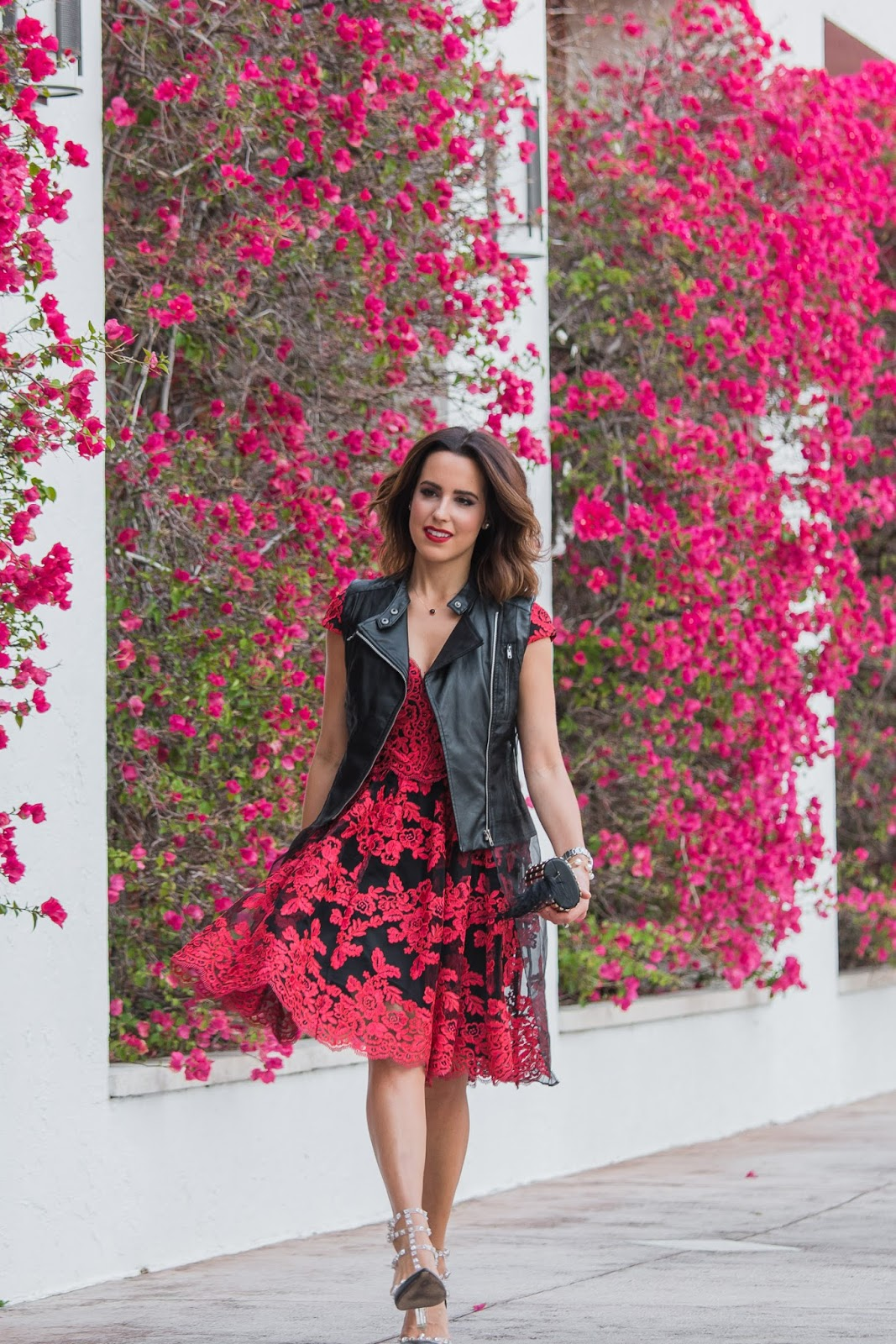 Lace Dress, Rockstuds, & Moto Vest by Fashion Blogger Kelly Saks
