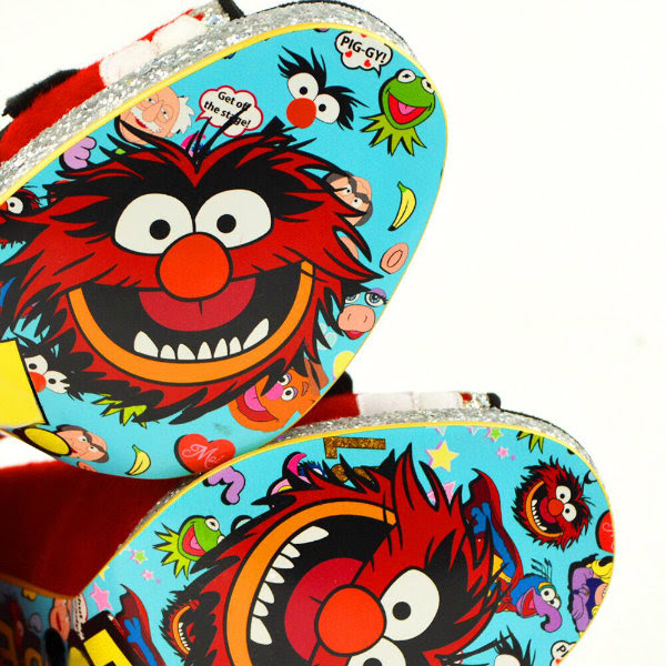 close up detail of Muppets Animal on Irregular Choice Disney shoe sole