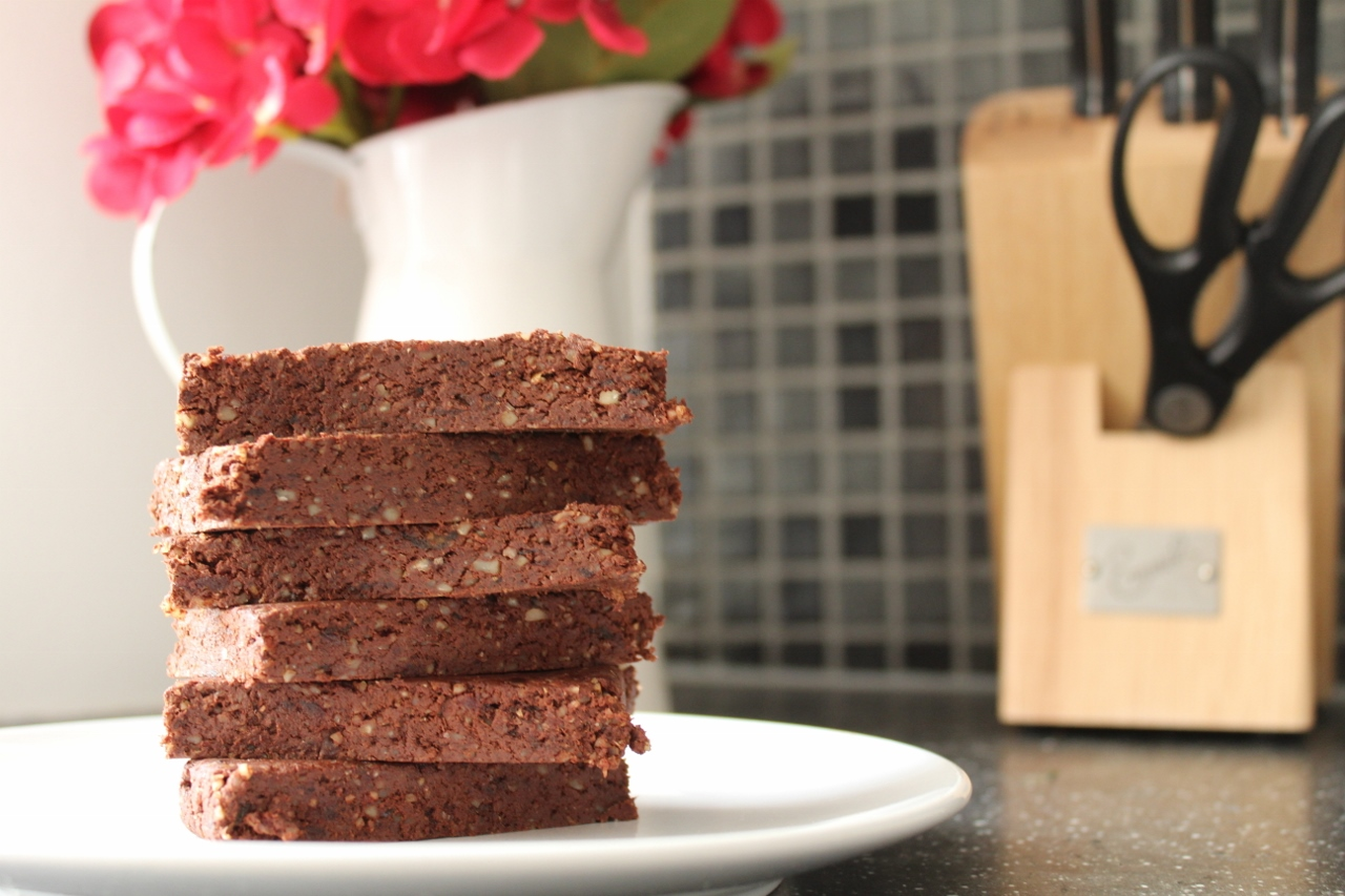 Raw chocolate walnut bars