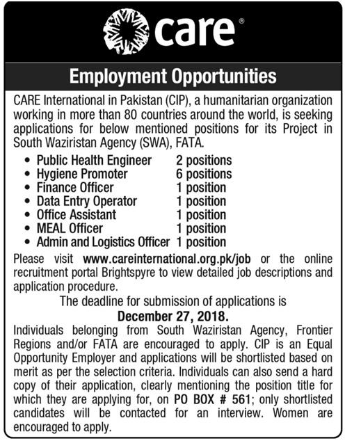 Advertisement for Care International Pakistan Jobs December 2018