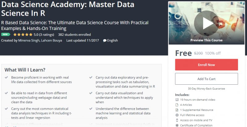100% Off] Data Science Academy: Master Data Science In R