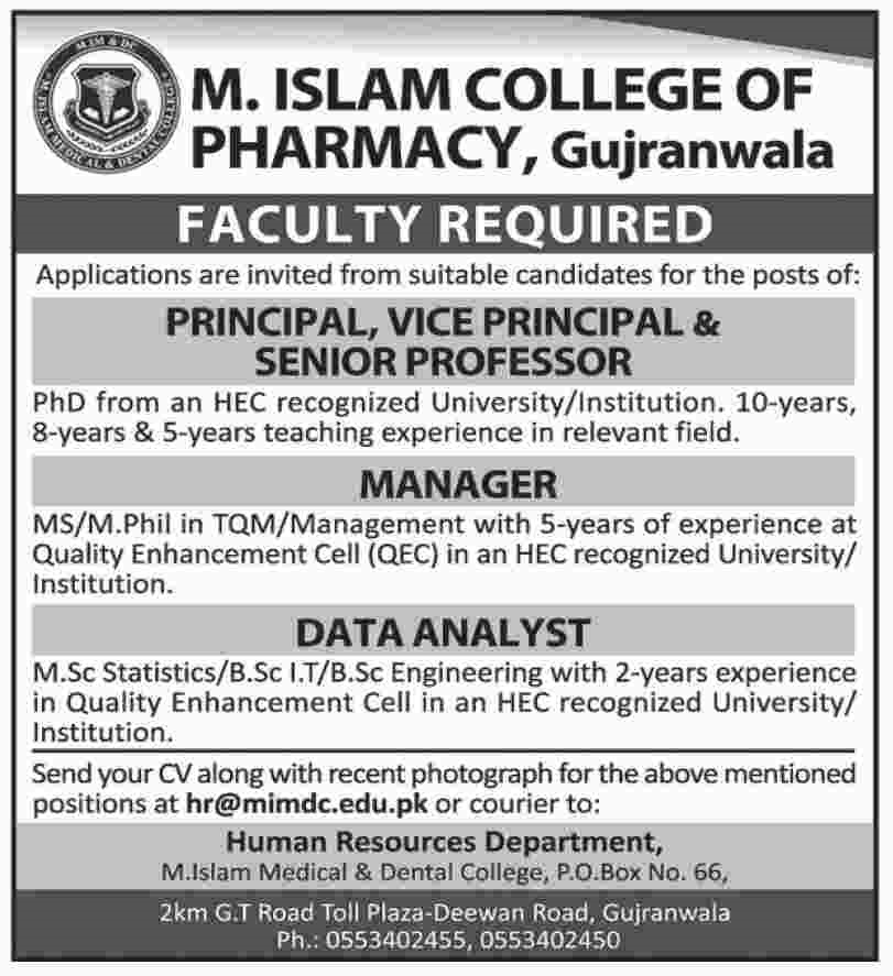 Faculty Required in M Islam College of Pharmacy