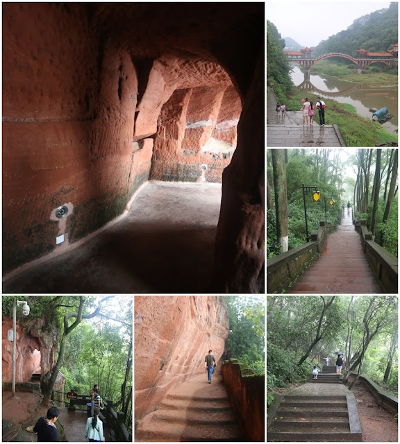 Walking through the steep of stairway as we are heading to the exit of The Leshan Giant Buddha in Sichuan province of China