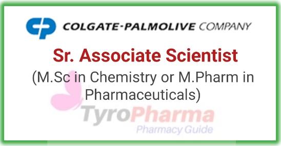 Sr. Associate Scientist job at Colgate-Palmolive