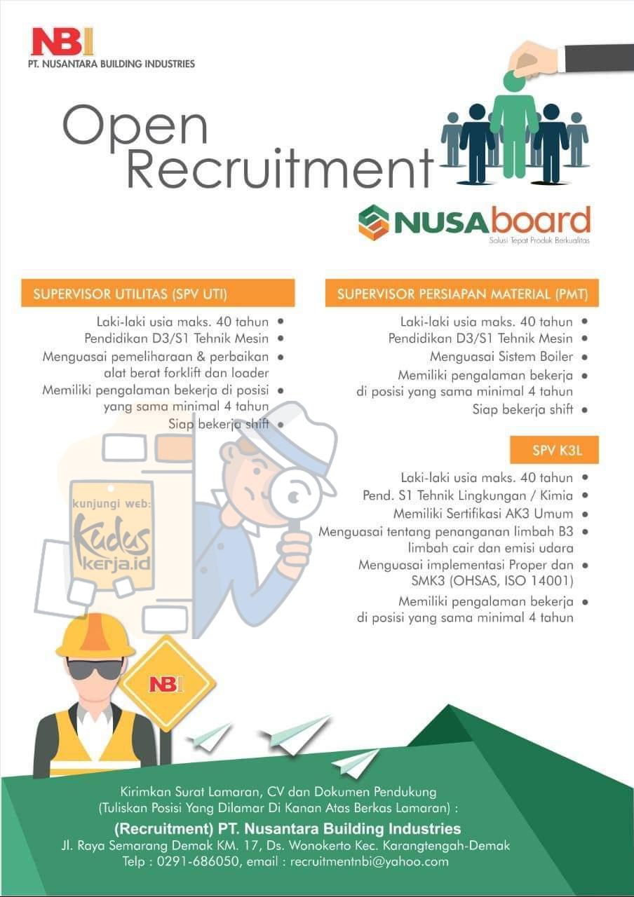 Lowongan Kerja Demak Supervisor di PT. Nusantara Building Industries