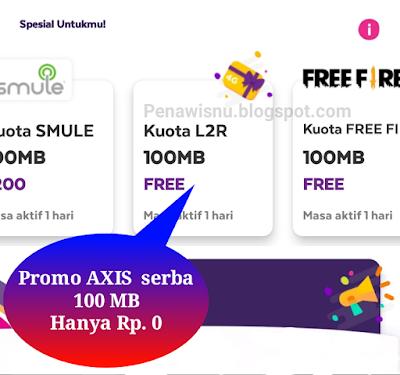 Daftar Kuota Internet Serba 100 Mb 0 Rupiah Axis Pena Wisnu