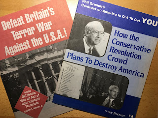 "Two magazine covers: ""Defeat Britain's Terror War Against the U.S.A!"" and ""How the Conservative Revolution Crowd Plans To Destroy America"""