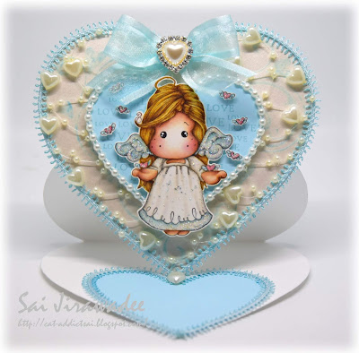 Miracle Love Tilda Heart Shaped Easel Card