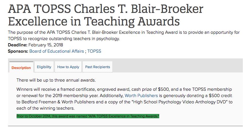 APA TOPSS Charles T. Blair-Broeker Excellence in Teaching Awards