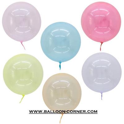 Balon PVC Transparan Warna / Balon Bubble Warna