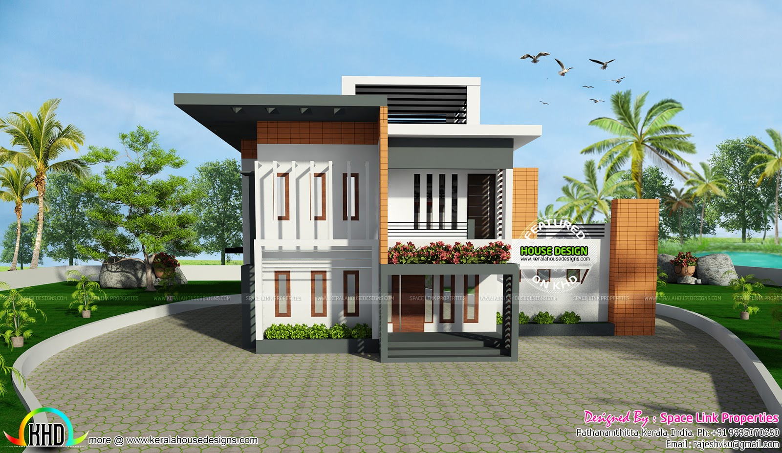 2717 square feet contemporary style home kerala home for Square house design