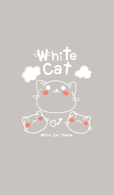 White cat cute Theme