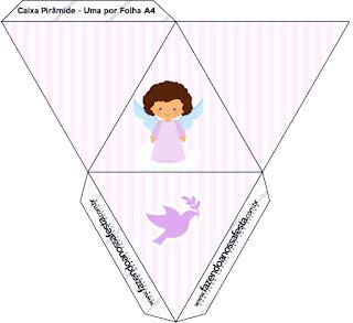 Brunette Angel Girl, Free Printable Pyramid Box.