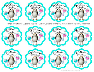 Porg Baby Shower Cupcake Toppers - Free Printables Star Wars Porgs