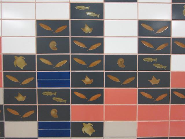 Don Mills station mezzanine wall tiling