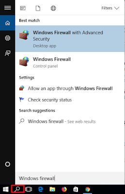 Masuk ke pengaturan Firewall menggunakan menu search Windows