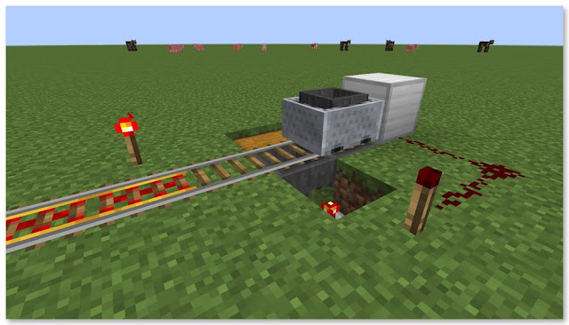 Minecraft トロッコアイテム輸送 簡単な荷降ろし駅