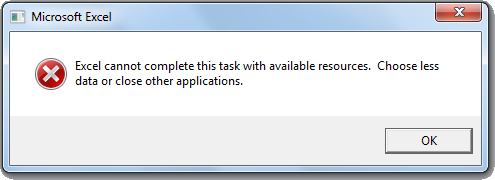excel 2013 32 bit there isnt enough memory to complete this action