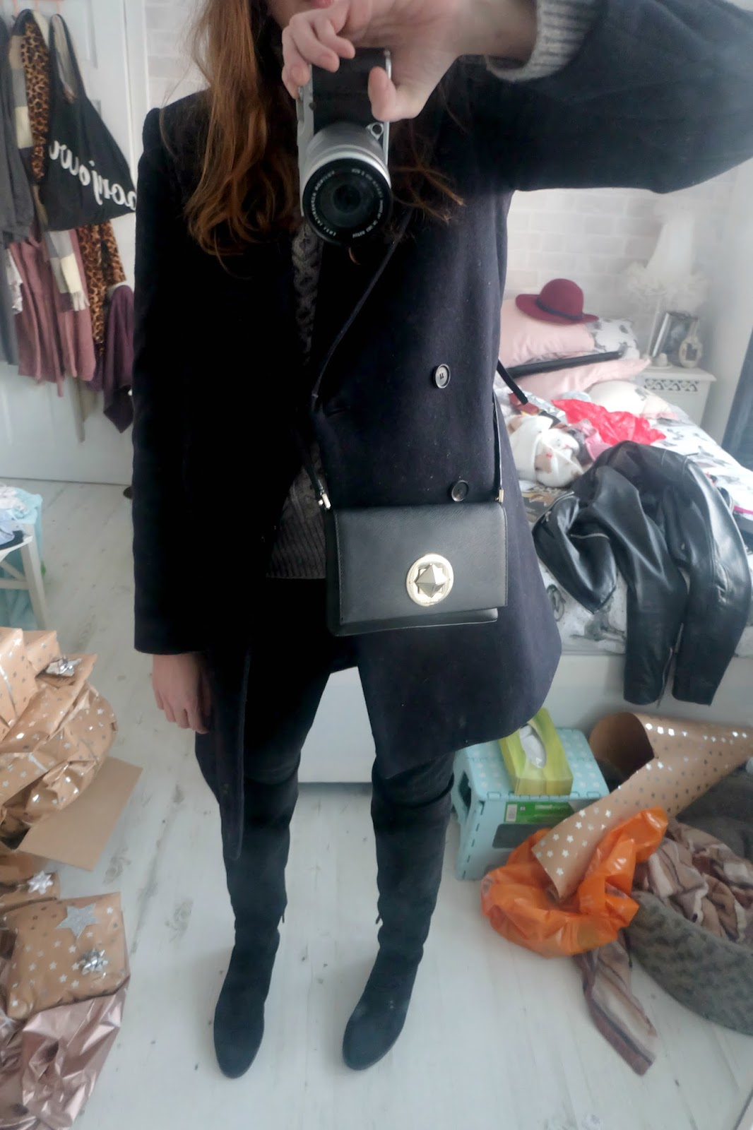 nine by savannah miller baker boy hat, zara navy pea coat, j brand vanity jeans, kate spade sally bag, zara flat black knee high boots, ASOS Jumper With Cable Stitch And High Neck