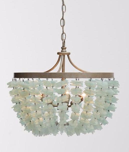 Green Sea Glass Chandelier