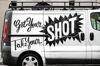 A white van with the message 'get your shot, take your shot' on Preeti's blog of Marketing Junkie