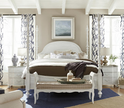 White 4-poster bed by Paula Deen at Baer's Furniture