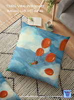 Balloon Lift Off Graphic Floor Pillow from Redbubble, art by Traci Van Wagoner