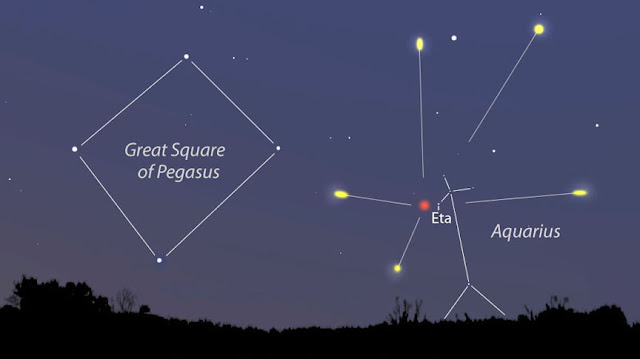 Radiant of the Eta Aquarid Meteor Shower peaking before dawn on May 6th.
