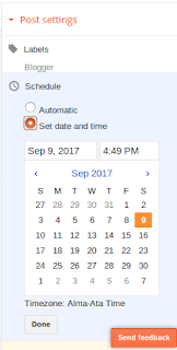 publish post in schedule automatic in blogger