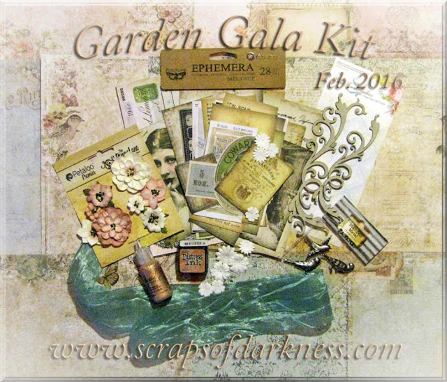 February Scraps of Elegance Garden Gala main scrapbook kit