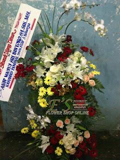 rangkaian bunga standing flower selamat ulang tahun