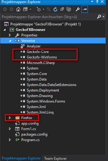 Firefox GeckoFX Project explorer