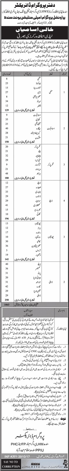 Latest Jobs in Sindh Lady Health Workers  2017 for 1063+ Lady Health Workers