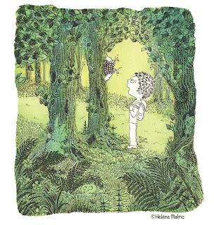 couronne du rampant, forêt, enfant, encre, aquarelle