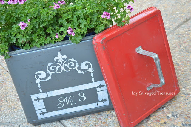 stencil an old cooler and use as a garden planter
