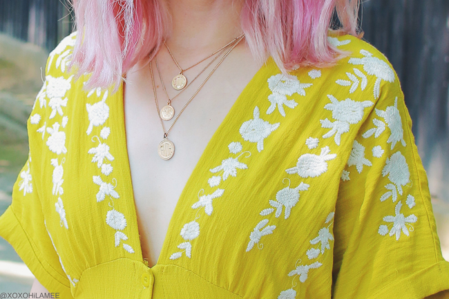 Japanese Fashion Blogger,MizuhoK,20180720OOTD,Chicwish=yellow embroidery dress,,/ZARA=white sneakers,,/zeroUV=round sunglasses,,/3.1PhilipLim= white clutch bag,,/3soins=flower earrings,,/Bershka=3 layerd medalion necklace,, trip streetstyle