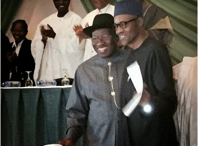 President Jonathan & Buhari hug as they sign peace accord this morning 6454
