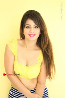 Cute Telugu Actress Shunaya Solanki High Definition Spicy Pos in Yellow Top and Skirt  0175.JPG