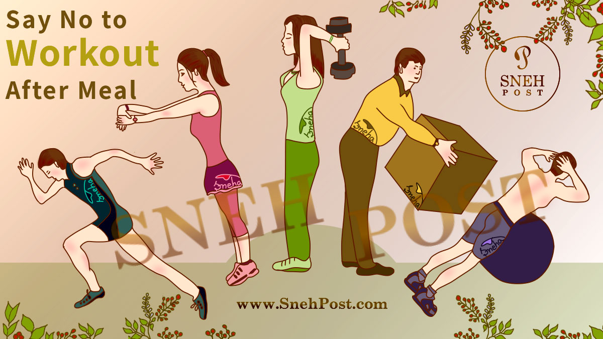 Post-Eating Bad Habits: People doing exercise, pulling weight, and performing heavy workout after taking a meal! Illustration of fastly running boy, exercizing girl, dumble weight lifting girl, man carrying and shifting heavy weight, and a guy doing strenuously heavy workout after taking the food! (Messege: Say No to heavy exercize after having your food)