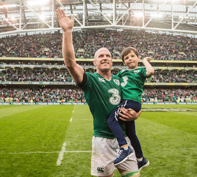 Paul O'Connell (and son) after his last home game for Ireland.