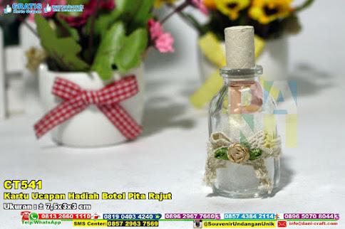 Kartu Ucapan Hadiah Botol Pita Rajut