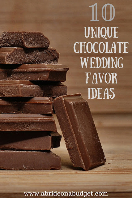 CHOCOHOLICS! Check out this post of ten unique chocolate favor ideas from www.abrideonabudget.com.