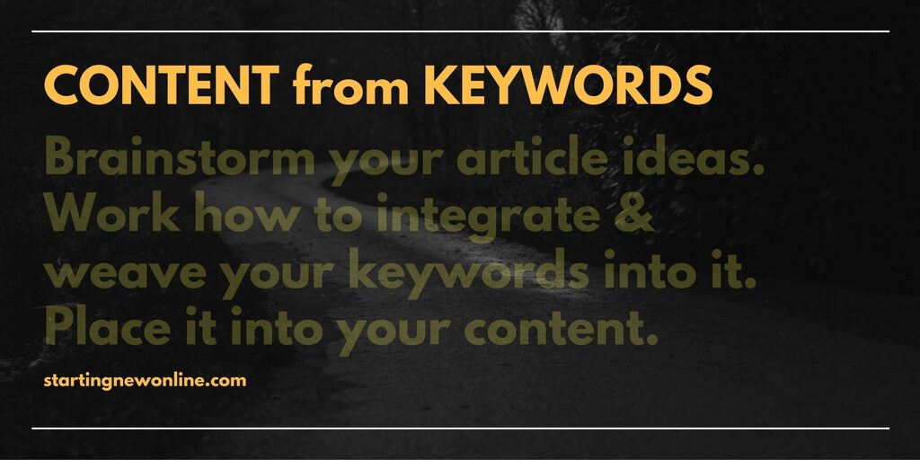 write content from keywords