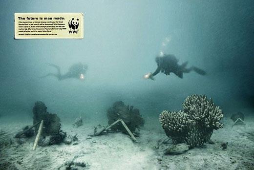 衝撃的でクリエイティブ、世界自然保護基金WWFの面白い広告 ハリボテサンゴ