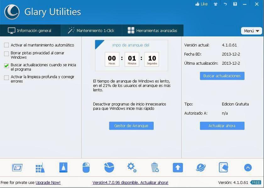 Actualizar Glary Utilities