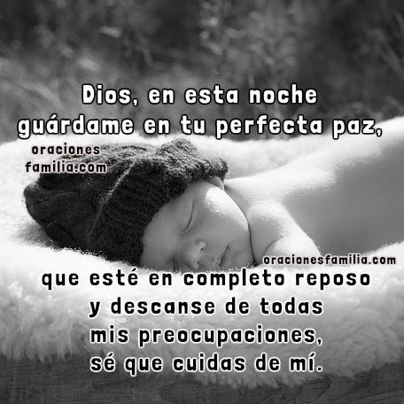 Oración con imágenes cristianas para dormir en la noche, frases para dormir confiando en Dios, buenas noches por Mery Bracho