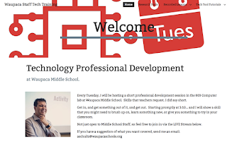Screen shot of Technology Professional development page.